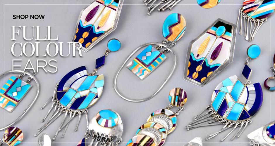 Native American Vintage Inlay Earrings