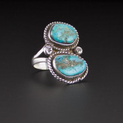 Coco and Benny 1980's Native American Navajo Native American Turquoise Sterling Silver Ring
