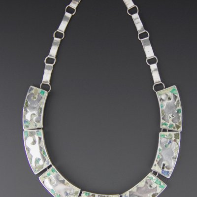 Coco and Benny Early Mexican Crushed Stone Inlay Vintage Sterling Silver Necklace
