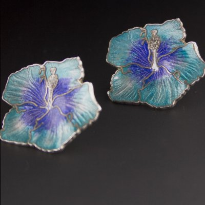 Coco and Benny Vintage Aqua Cloisonne Enamel Hibiscus Flower Earrings