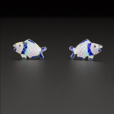 Coco and Benny Tiny Sterling Silver Enamel Fish Vintage Earrings