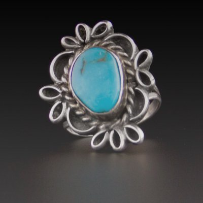 Coco and Benny Vintage Jewellery 1970s Turquoise Navajo Native American Sterling Silver Ring