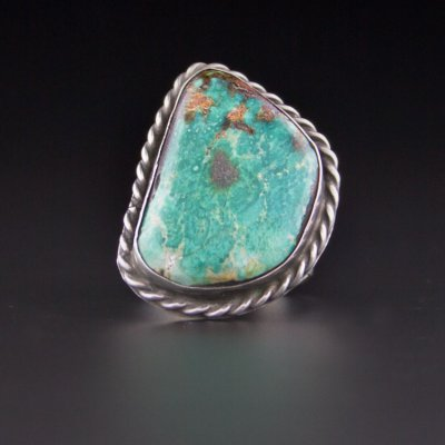 Coco and Benny Large Natural Green Turquoise 1970's Sterling Silver Vintage Navajo Ring