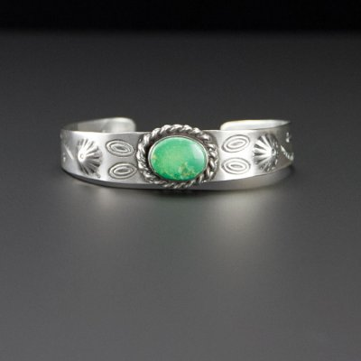 Coco and Benny 1970's Native American Navajo Green Turquoise Stamped Sterling Silver Vintage Cuff