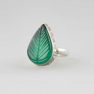 Coco and Benny Sterling Silver + Carved Art Glass Leaf  Vintage Ring
