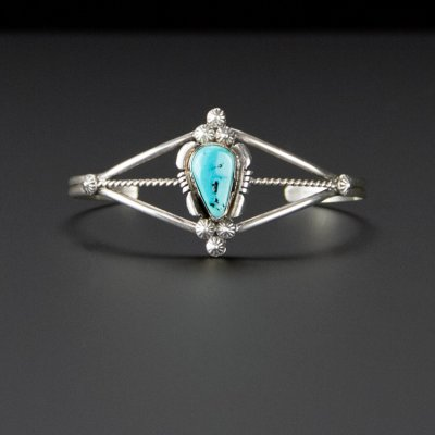 Coco and Benny 1980's 'Marie B' Delicate Navajo Native American Sterling Silver and Turquoise Vintage Cuff Bracelet