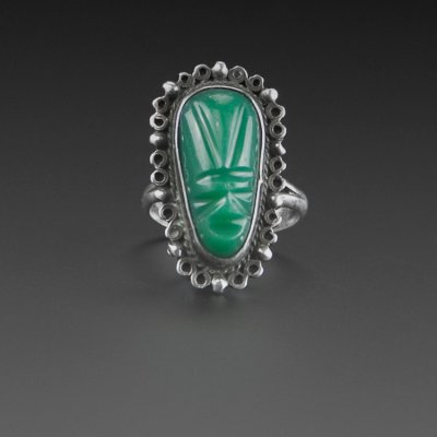 Coco and Benny Mexican 1940's - 1950's Green Onyx Mask Vintage Ring