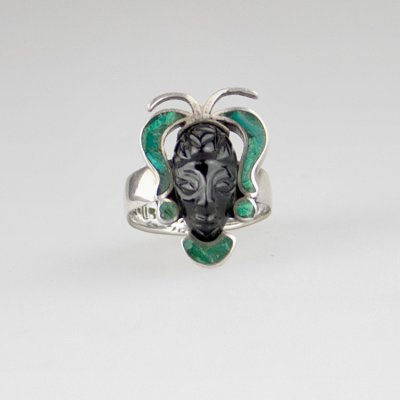 Coco and Benny 1980's Mexico Onyx and Malachite Carved Mask Sterling Silver Vintage Ring