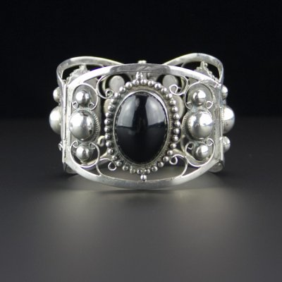 Coco and Benny 1950's Ornate Mexican Onyx + Carved Sterling Silver Vintage Bracelet