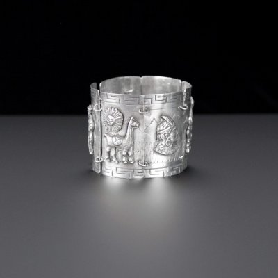 Coco and Benny 1960's Peruvian Wide Carved Silver Vintage Cuff