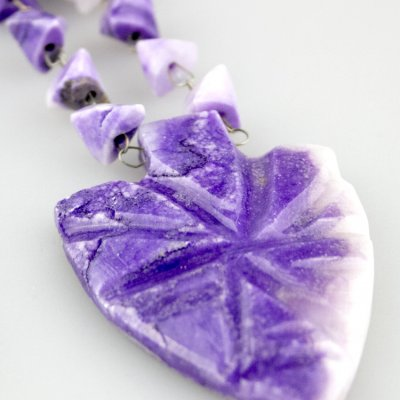 Coco and Benny 1960's Amethyst Agate Carved Stone Vintage Necklace