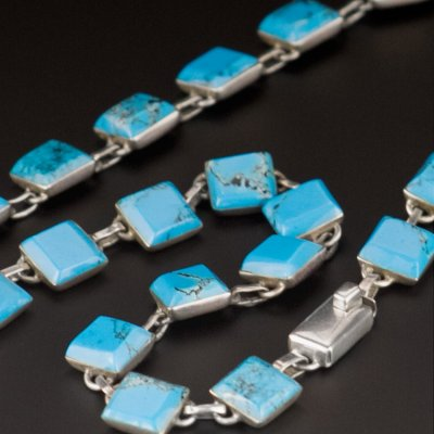 Coco and Benny 1980's Fine Silver Taxco Turquoise Vintage Necklace