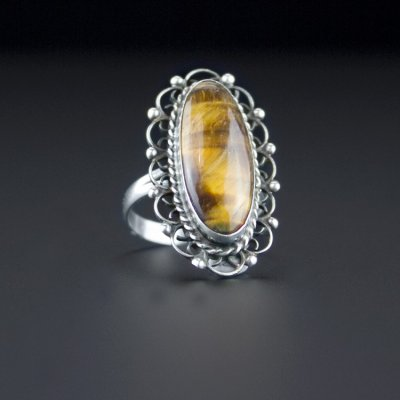 Coco and Benny 1950's Mexican Tiger's Eye Sterling Silver Vintage Ring