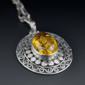 Coco and Benny Sterling Silver Vintage Amber Pendant