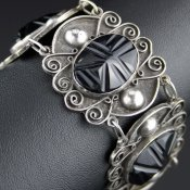 Coco and Benny 1940's Carved Onyx + Sterling Silver Mexican Vintage Bracelet