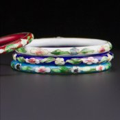 Coco and Benny 1980's Set of Four Glass Cloisonné Vintage Bangles