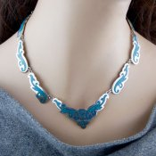 Coco and Benny Vintage JE\ewellery Lovely Crushed Turquoise Sterling Silver Mexican Necklace