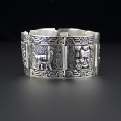 Coco and Benny 1960's Ornately Carved Sterling Silver Peruvian Vintage Bracelet