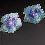 Coco and Benny Vintage Aqua Cloisonne Enamel Hibiscus Flower Earrings