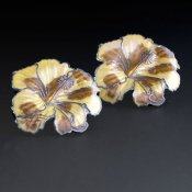 Coco and Benny Brown Cloisonne Enamel Vintage Hibiscus Earrings