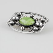 Coco and Benny 1950's Mexican Sterling Silver Jasper Vintage Brooch