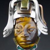 Coco and Benny Vintage Jewellery Vintage Mixed Metal + Tigers Eye Huge Mayan Mask Ring
