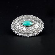 Coco and Benny Mexican Sterling Silver 1950's Art Glass Mexican Puffy Vintage Brooch
