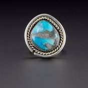 Coco and Benny 1970's Navajo Natural Turquoise Vintage Sterling Silver Ring